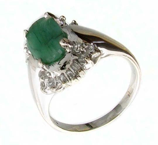 APP 3k 1CT Emerald & Diamond Sterl Silver Ring Lot 4146