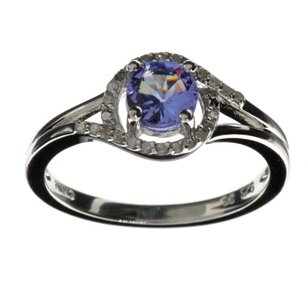 APP 3k Round Cut Tanzanite & Diamond Silver Ring Lot 790