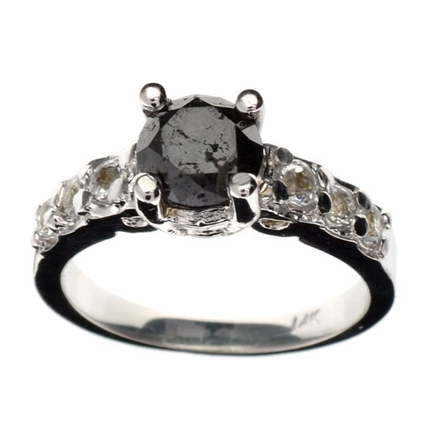 APP 3k 14kt White Gold 1CT Black Diamond & Topaz Ring Lot 3120