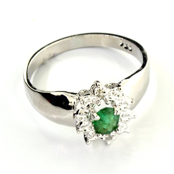 APP 1k Emerald & Diamond Sterl Silver Ring Lot 1460