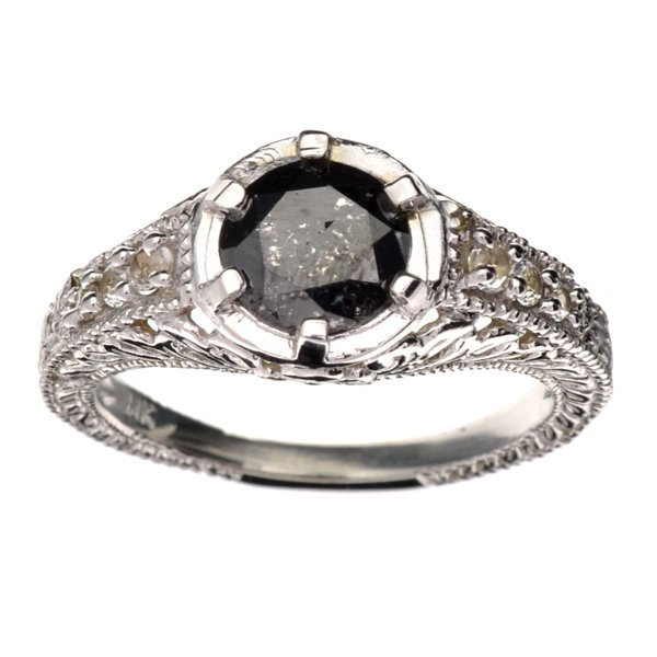 APP 3k 14kt White Gold 1CT Round Black Diamond Ring Lot 1245