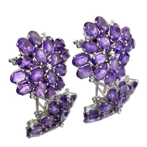 APP 1k 13CT Oval Cut Amethyst Quartz & Silver Earrings Lot 1149