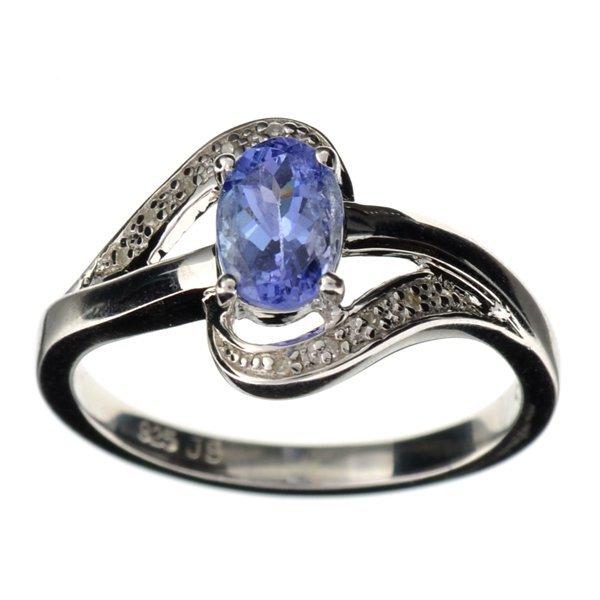 APP 2k Tanzanite & Diamond Sterl Silver Ring Lot 907
