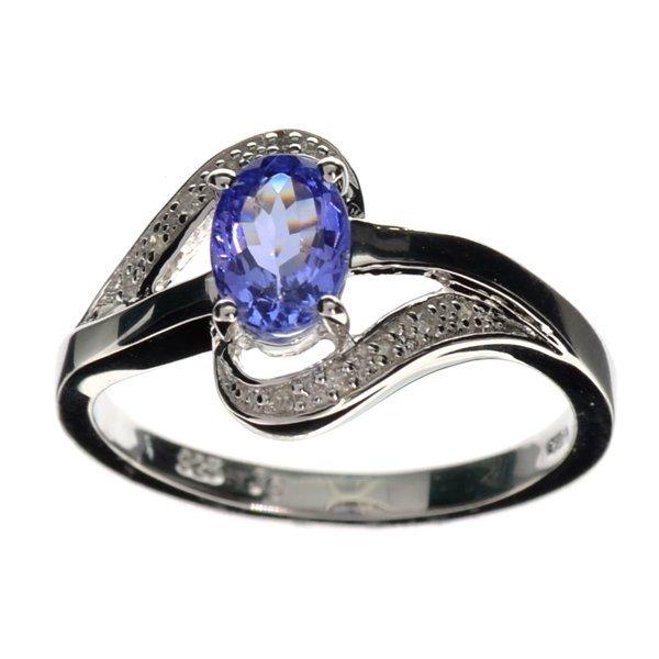 APP 2k Tanzanite & Diamond Sterl Silver Ring Lot 1023