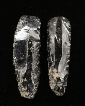 Pair of Pre Columbian Obsidian Core Blades 4 3/4 & 4