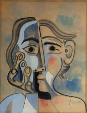 Pablo Picasso Gouache On Paper. (att.)
