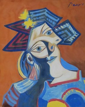 Pablo Picasso Attributed Mixed Media On Paper
