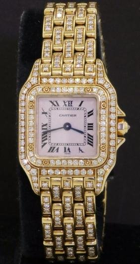 Cartier Panthere 18k Gold Diamond Ladies Watch
