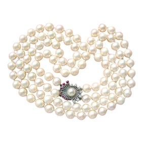 Vintage Saltwater Pearl Necklace Diamond Ruby Clasp