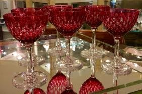 6 Antique Baccarat Ruby Crystal Liquor Cocktail Stem