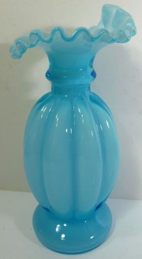 Fenton Art Glass Blue Overlay Vase