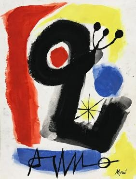 Joan Miro: Gouache On Paper