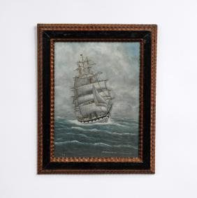 Ship Painting In Tramp Art Frame Signed