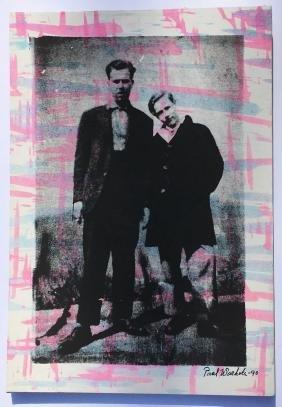 1990 Paul Warhol Screen Printed Canvas Signed