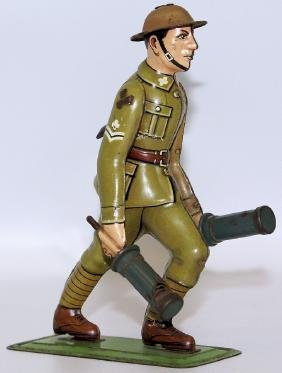 WWII Tin Litho German Soldier 2 Grenades, DRP / DRGM