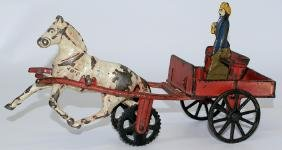 Vintage 1884 CARPENTER Cast Iron Wagon Original Lady