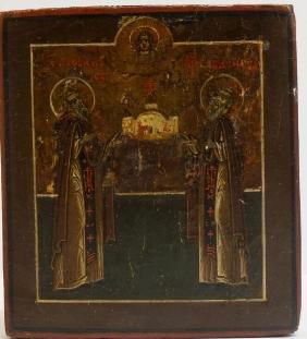 St Zosima & St Sabbaty Russian Icon, 19th C