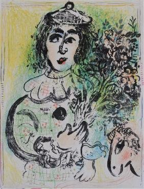 Marc Chagall: Clown With Flowers