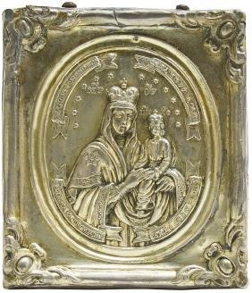 Chernigovskaya Mother Of God Silver Russian Icon, 1849