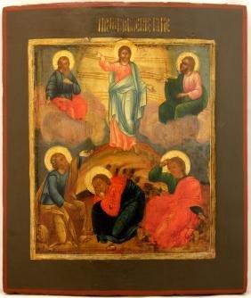Transfiguration Of Jesus Christ Russian Icon, 19th C