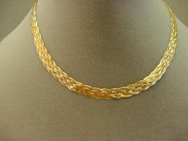8010 14k gold braided herringbone chain lot 8010