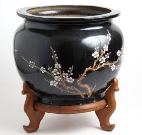 Asian Black Ceramic Planter On Stand