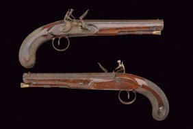A Pair Of Flintlock Pistols By Philip Bond
