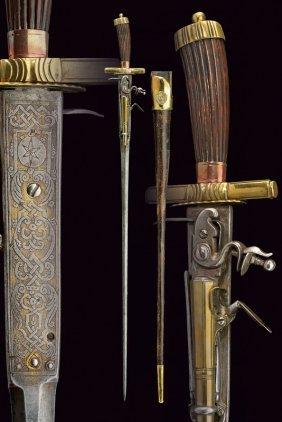 A Rare Hunting Hanger With Flintlock Pistol