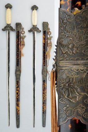 A Rare And Fine Pair Of Ceremonial Swords (kiem)