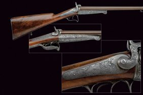 A Double-barrelled Pin-fire Shotgun By Lefaucheux