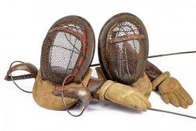 A Set Of Fencing Swords, Gauntlets And Masks