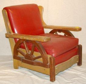 267 Old Western Wagon Wheel Chair Ranch Oak Style Lot 267