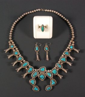 Silver & Turquoise Squash Blossom Necklace Set
