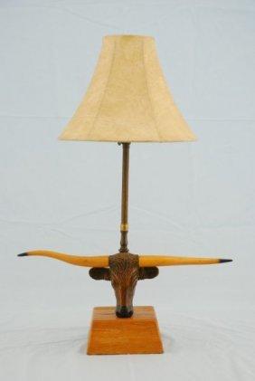 A Brandt Ranch Oak Longhorn Steer Table Lamp