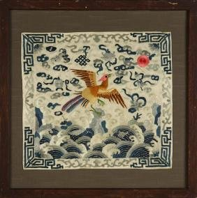 Chinese Silk Embroidery Framed Badges