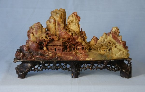Chinese soapstone carving temple mountains h