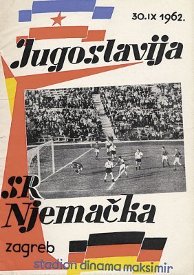 Football Programm 1962. Yogoslawia Vs Germany