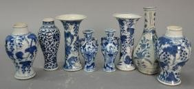 Eight Small Blue And White Chinese Export Canton Vases