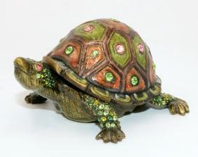 Jay Strongwater Swarovski Crystal & Enamel Turtle Pill