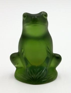 "Lalique ""Rainette"" Green Crystal Frog"