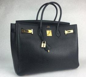 Hermès Birkin Black Leather Tote Bag
