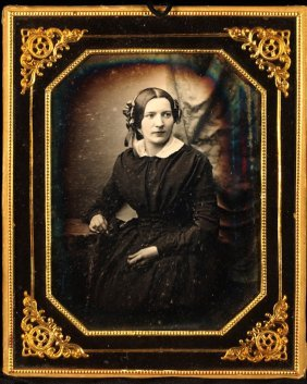 German Daguerreotype, Ribbon Band On Her Hair 1/4 Plate