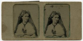 Stereo Tintype By Alden, Actress, Saratoga