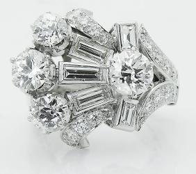 Cartier Estate Pt 950 Over 4.00 Tcw Diamond Ring