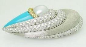 Henry Dunay Pt 950 & Gold 10.00ct Diamonds & Pearl Pin