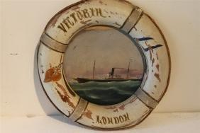 Circular Painting Of Steamship Victoria