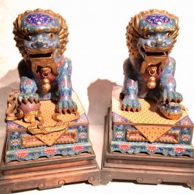 Stunning Pair Of Chinese Cloisonne Foo Dogs
