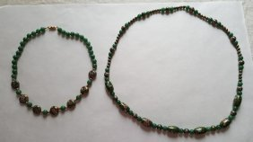Rare 14k Pair Chinese Vintage Cloisonne Necklace