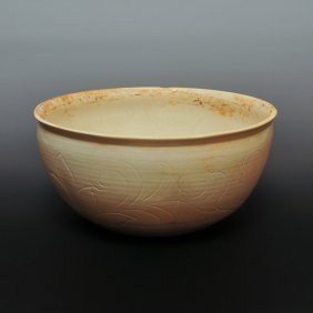 10th Song Dynasty Chinese Ding Kiln Carved Big Bowl