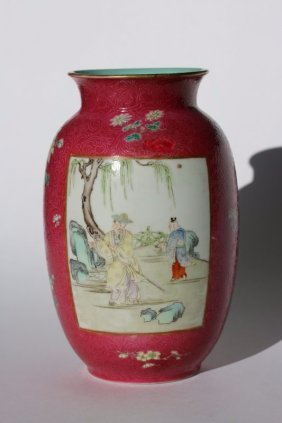 19th Qing Dynasty, A Chinese Wucai Porcelain Vase